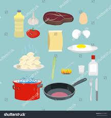 set kitchen utensils food pan casserole stock vector 285170501