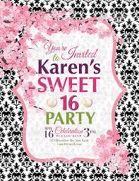art birthday invitations cherry blossoms sweet 16 birthday party invitation template stock