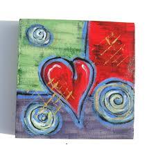 custom valentine gift idea acrylic abstract heart painting