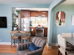 in kitchen with arched pass through window this compact eat in