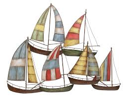 nautical sailboats metal and wooden wall sculpture