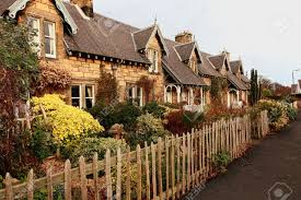 beautiful old traditional scottish houses stock photo picture