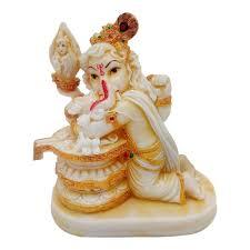 Home Mandir Decoration by Marble Look Hindu God Shri Ganesh Statue Lord Ganesha Idol Bhagwan