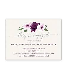 Engagement Party Invitation Cards Floral Watercolor Purple Engagement Party Invitations
