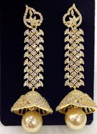 earrings online exclusive large cz jumkas fashion wear and pearls