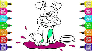 draw and color the lovely dog gnawing on a bone paint colouring