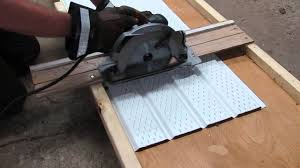 What Kind Of Saw Blade To Cut Laminate Flooring How To Cut Aluminum Soffit With A Circular Saw Youtube