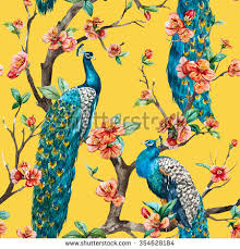 Yellow Flowering Trees - watercolor seamless pattern peacock on tree stock illustration
