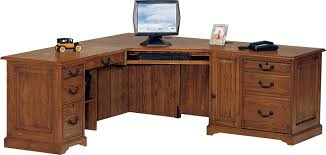 Rustic Corner Desk Varnished Mahogany Wood Computer Desk With Pile Up Drawers And
