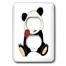 bear light switch covers all smiles art animals funny cute panda bear holding red rose