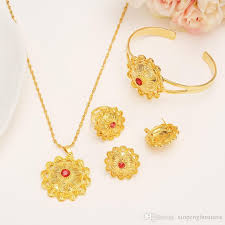 stone necklace sets images Gold color ethiopian jewelry sets red stone ethiopian habesha jpg