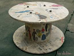 Cable Reel Table by Wood Cable Spool Reel Table Covered With Magazine Cut Outs Idea