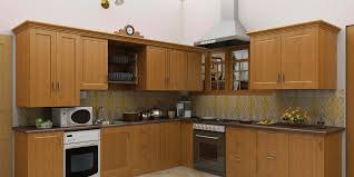 archaic modular kitchen with l shape features brown color wooden