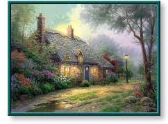 kinkade moonlight cottage paper and canvas prints