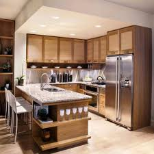 brown wooden island with open shelves wooden kitchen cabinets