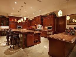 captivating large open kitchen with brown color wooden kitchen
