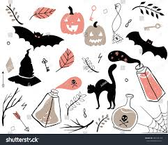 halloween background silhouettes hand drawn set spooky halloween autumn stock vector 482126119