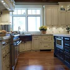 Corner Kitchen Sink Designs Lovely White Classic Kitchen With Unique Corner Apron Sink Layout