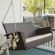 Modern Patio Swing Modern Dark Brown Resin Wicker Porch Swing With Khaki Seat Cushion