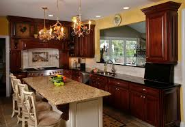 granite countertops rustic kitchen island lighting flooring