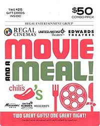dinner and a gift card brinker regal entertainment a meal gift cards