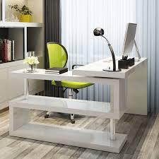 computer desk with shelves white white high gloss rotating office desk furniturebox