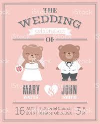 invitation card cartoon design cute bear couple cartoon illustration for wedding invitation card