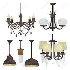 Lighting Lamps Chandeliers Lamp Set Isolated Interior Light Design Electricity Lamps