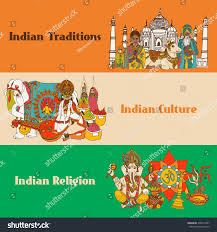 india colored sketch banners set traditions stock vector 235914997