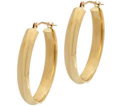 oval hoop earrings 18k gold 7 8 polished oval hoop earrings page 1 qvc