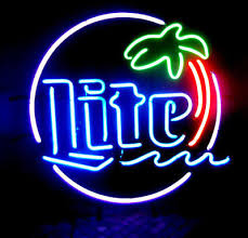 palm tree neon light new miller lite palm tree beer lager bar man cave neon sign 20 x16