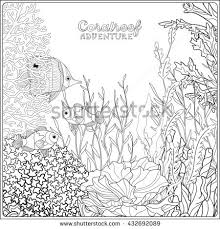 banner coloring pages coloring book coloring page underwater stock vector