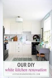our diy white kitchen renovation the reveal just a and