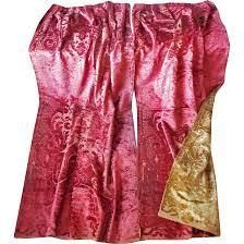 Velvet Curtains Antique Cut Velvet Curtains Portieres Victorian Reversible Red