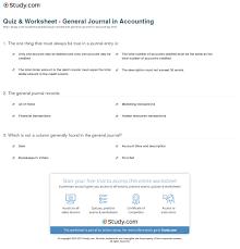 quiz u0026 worksheet general journal in accounting study com