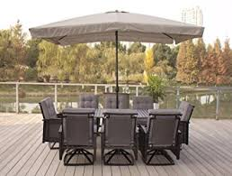 Patio Dining Set With Umbrella 9pc Palmetto Black Aluminum And Wicker Dining Set With