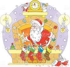 santa in the fireplace stock vector art 523615429 istock