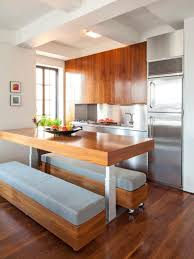 Unfinished Wood Kitchen Island by What Is A Eat In Kitchen Chrome Pendant Light Above Wooden Dining