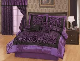 Zebra Bed Set Faux Silk And Flocking Black Purple Zebra