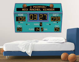 basketball scoreboard peel and stick wall mural multiple color