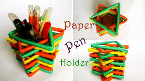 how to make paper pencil holder how to make pen stand