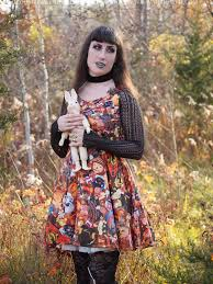 gloomth every day is halloween themed print dress