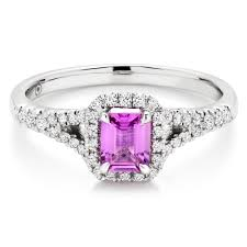 18ct white gold diamond amethyst 18ct white gold diamond and pink sapphire ring 0000170
