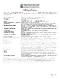 Waiter Job Description Resume Sample Resume For Waitress Job With No Experience Job And Resume