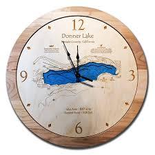 donner lake ca 3 d nautical wood clock 17 5
