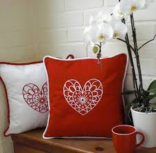 spread the love with this scandi style embroidered heart cushion