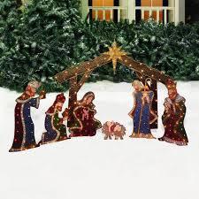holiday time nativity set with manger light sculpture 7 piece set