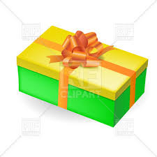 green gift bow rectangular green gift box with yellow top and orange bow royalty