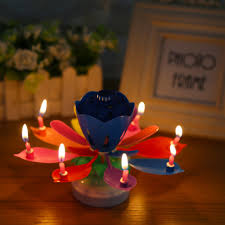 lotus birthday candle multi coloured rotating musical lotus birthday candle cool