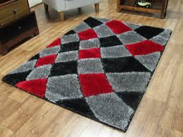 Shaggy Grey Rug Red And Grey Rugs Creative Rugs Decoration